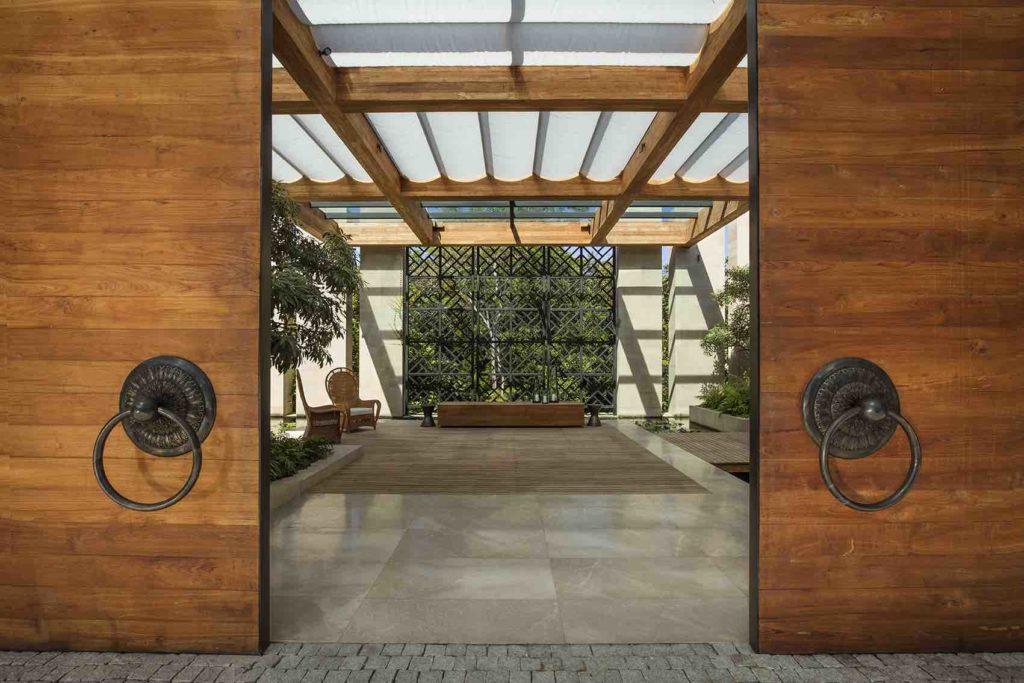 Wooden, doors, entrance, Rosewood hotel, Phuket