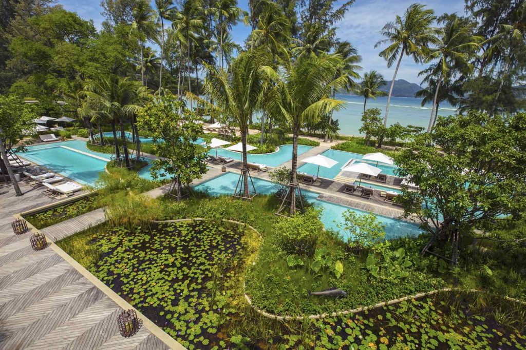 Pool, view, sea, palm trees, turquoise waters, luxury hotel
